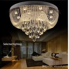 modern crystal chandelier flush mount ceiling light rain drop crystal chandeliers lighting gu10 round led lights for living room foyer chandeliers art deco