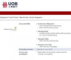 uob privileges at marina bay sands
