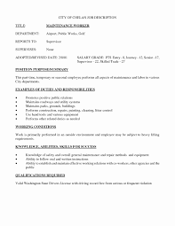 Maintenance Job Resume General Maintenance Resume Sample Unique Maintenance Job Description 11