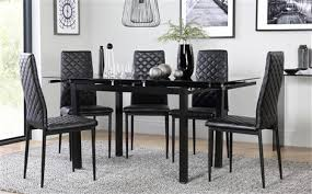 Space Black Glass Extending Dining Table - with 4 Renzo Black Chairs