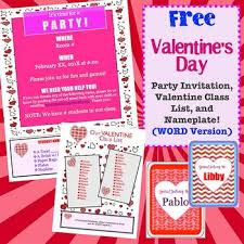 class list template word free valentine party name plate and class list templates word