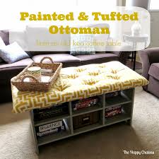 the happy cau painted tufted ottoman from an old ikea and also stunning ikea leksvik coffee