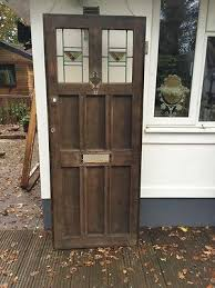 solid oak front door stained glass leaded period antique reclaimed1900s old gem