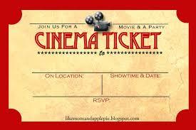 Invitation Ticket Template Baseball Ticket Invitation Template Free Free Movie Invitation 68