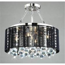 image of black crystal chrome chandelier pendant light with crystal beaded drum shade
