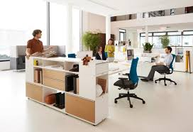 office table with storage. bench desk with storage on the end being used collaboratively office table m