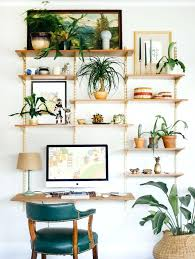 home office decor computer. Perfect Home Home Office Decor Ideas Small With Hanging Shelves  Plants And Floating   In Home Office Decor Computer