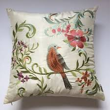Embroidered Bird Pillow Covers