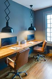 contemporary office lighting. This Cool Toned Contemporary Office Spices Up The Work Space By Adding Fun Pendant Lights, A Floating Desk Cozy Leather Chairs. Lighting