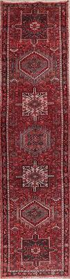 tribal red gharajeh persian runner rug 2x9