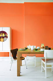 wall color ideas orange kitchen white bottom wooden table