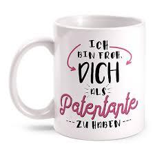 Patentante Tasse Spruch Froh Geschenk Idee Geburtstag Taufe Patin Danke Sagen