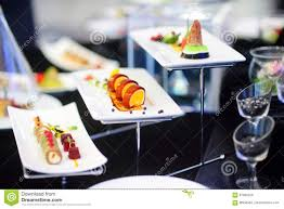 molecular modern cuisine various fancy dishes on white plates in