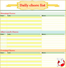 Household Chore List Template Daily Chore List Template Buraq Printables