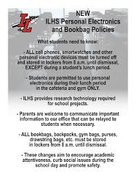 New Ilhs Personal Electronics Bookbag Policy Indian Lake