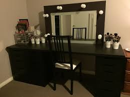 rectangle black wooden makeup vanity with drawerirror added by black wooden chair