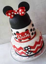 Chevron And Polka Dots Minnie Mouse Cake Rose Bakes