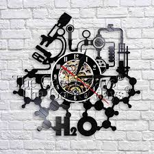 1piece chemistry experiments tool wall sign decorative wall clock 12 make from vinyl record black hanging