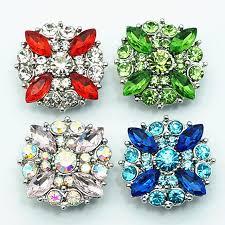 fashion beauty colorful flowers rhinestone 20mm snap ons fit snap bracelet snap jewelry whole kz1384