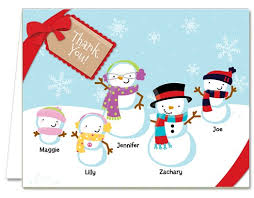 snowflake thank you cards christmas thank you cards snowman family with snowflakes thank you