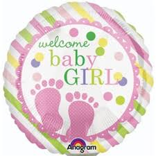 Welcoming Baby Girl Anagram Welcome Baby Girl Feet 18 Inch Balloon From Category New