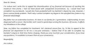 financial aid appeal letter due to