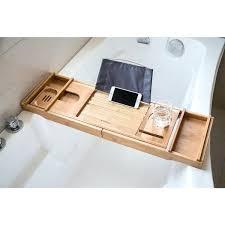 bathtub bath tray w extending sides wine glass holder wood rack tub caddy clawfoot
