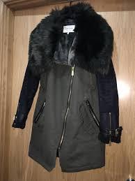 river island women s green khaki faux fur lined parka winter coat