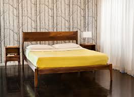 image of danish mid century modern bed frame