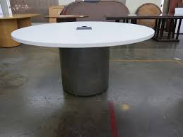 60 round white laminate conference table by teknion