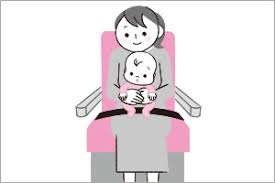 Hold your baby tightly while seatbelt sign on