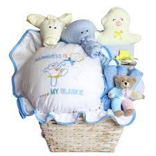 baby gift basket filled with happiness for newborn baby boy