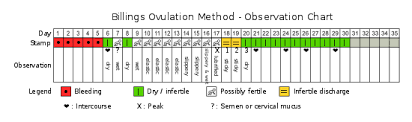 Cervical Mucus Chart Example Billings Ovulation Method Wikipedia