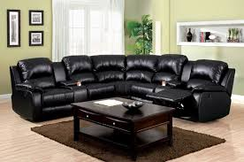 furniture of america cm6557bp 3 pc aberdeen black bonded leather reclining sectional sofa set with center