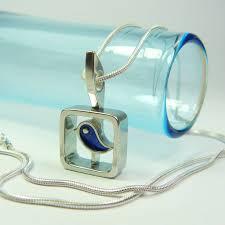 blue bird pendant necklace