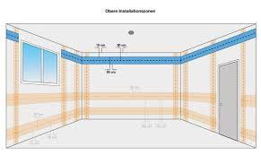 Wer wände oder decken im trockenbau errichtet, sollte möglichst von anfang an die elektroinstallation einplanen, falls er etwa steckdosen in wänden oder lampen an decken installieren möchte. Obere Installationszonen Elektroinstallation Ratgeber Leitungen Verlegen Elektroinstallation Elektroinstallation Haus Elektro