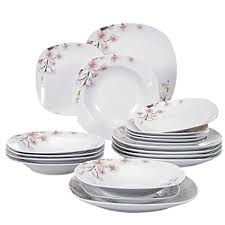 dinner dish sets. Fine Dinner VEWEET 18Piece Porcelain Stoneware Dinnerware Set Service For 6 Ivory  White Floral Pattern Dinner On Dish Sets O