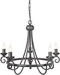 harlech black 5 light wrought iron chandelier uk made