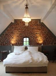 a brick wall is a super trendy must for various spaces now and bedroom and kitchen are perhaps the most fashionable place to rock this element bedroomterrific eames inspired tan brown leather short