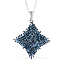 blue diamond ir pendant necklace 20 in in blue rhodium platinum over sterling silver 1 00 ctw lc