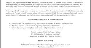 Food Service Resume Template Waitress Combination Resume Sample