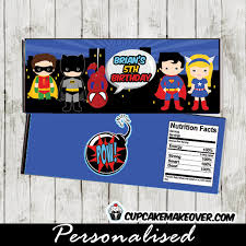 Personalized Superheroes Superhero Candy Bar Wrappers Personalized Cupcakemakeover