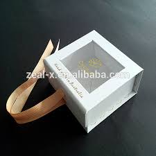 custom personalized logo gift jewelry window bo ng rigid gift box with ribbon for jewelry