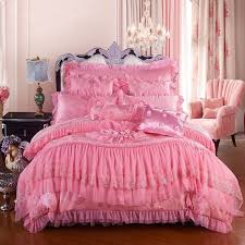 girls hot pink romantic sweetheart victorian rose sequin pattern ruffle and lace design princess themed full queen size bedding sets