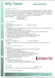 Mechanic Resume Impressive Auto Mechanic Resume Example 40