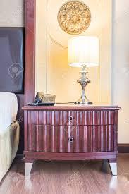 Licht Lampe Auf Dem Nachttisch Dekoration Schlafzimmer Interieur