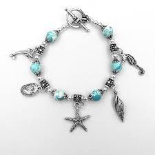 preserved flower petal charm bracelet ocean theme
