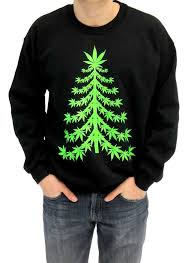 Ugly Christmas Marijuana Christmas Tree Adult Black Sweatshirt ...