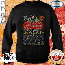 Official Manchester United UEFA Champions League 2020 2021 Once A Red  Always Red Signatures Shirt - Pondertee