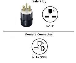 1 foot 15a 250v power cord plug adapter nema 6 15p to 6 15 20r picture of nema 6 15p to 6 15 20 power cord plug adapter